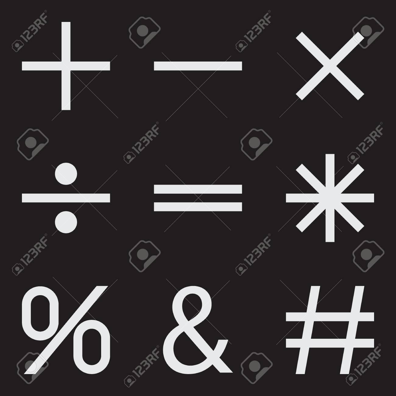 Basic Mathematical Symbols On Black Background Vector Illustration