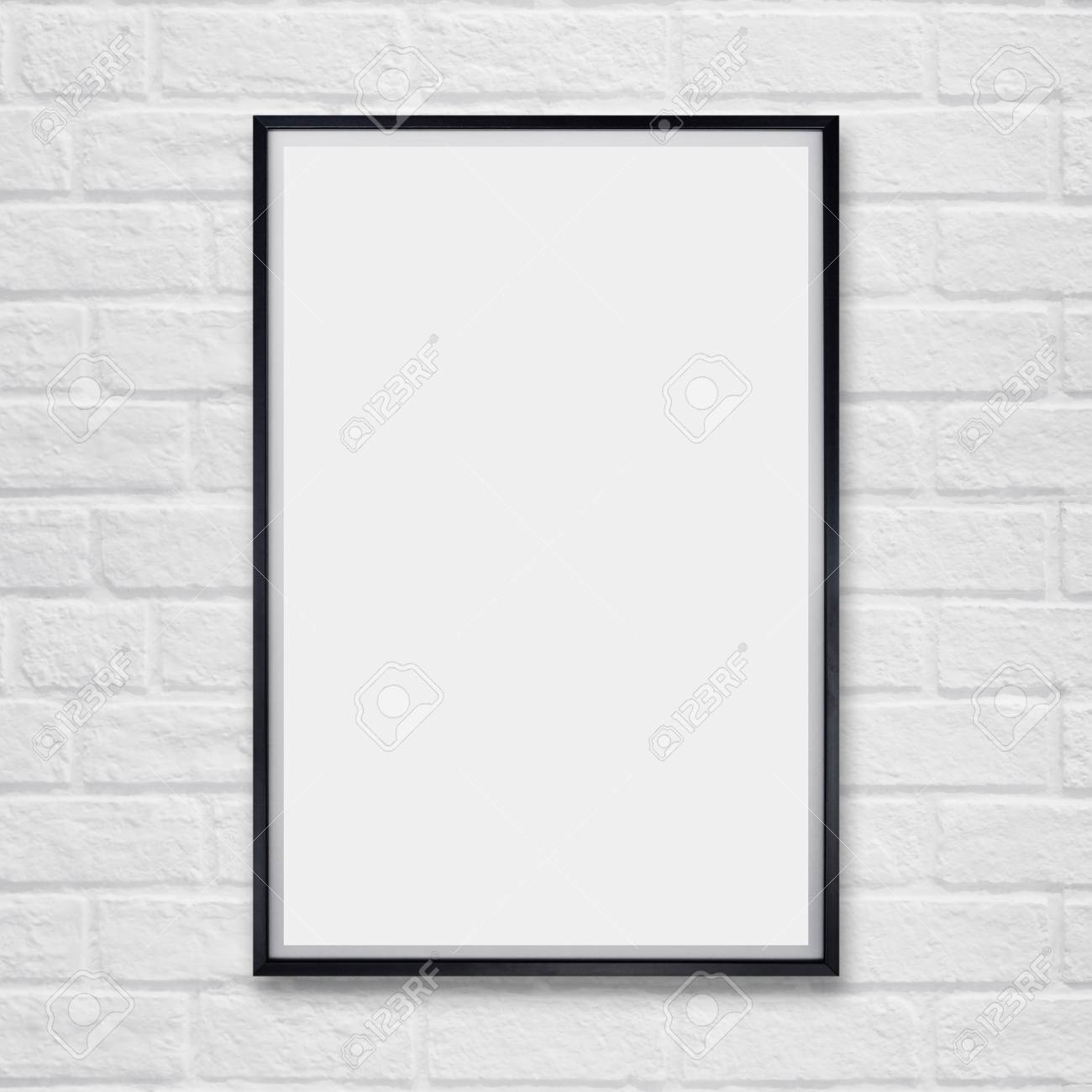 Mock Up Blank Poster Picture Frame On White Brick Wall Stock Photo