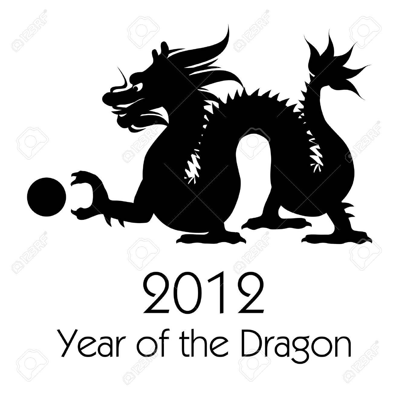 chinese new year of the dragon 2012 black white clip art stock photo 10725968