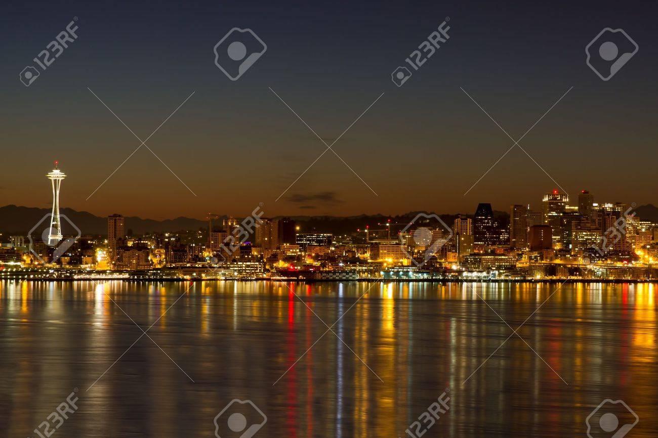 Seattle Washington City Skyline Reflection On Puget Sound At