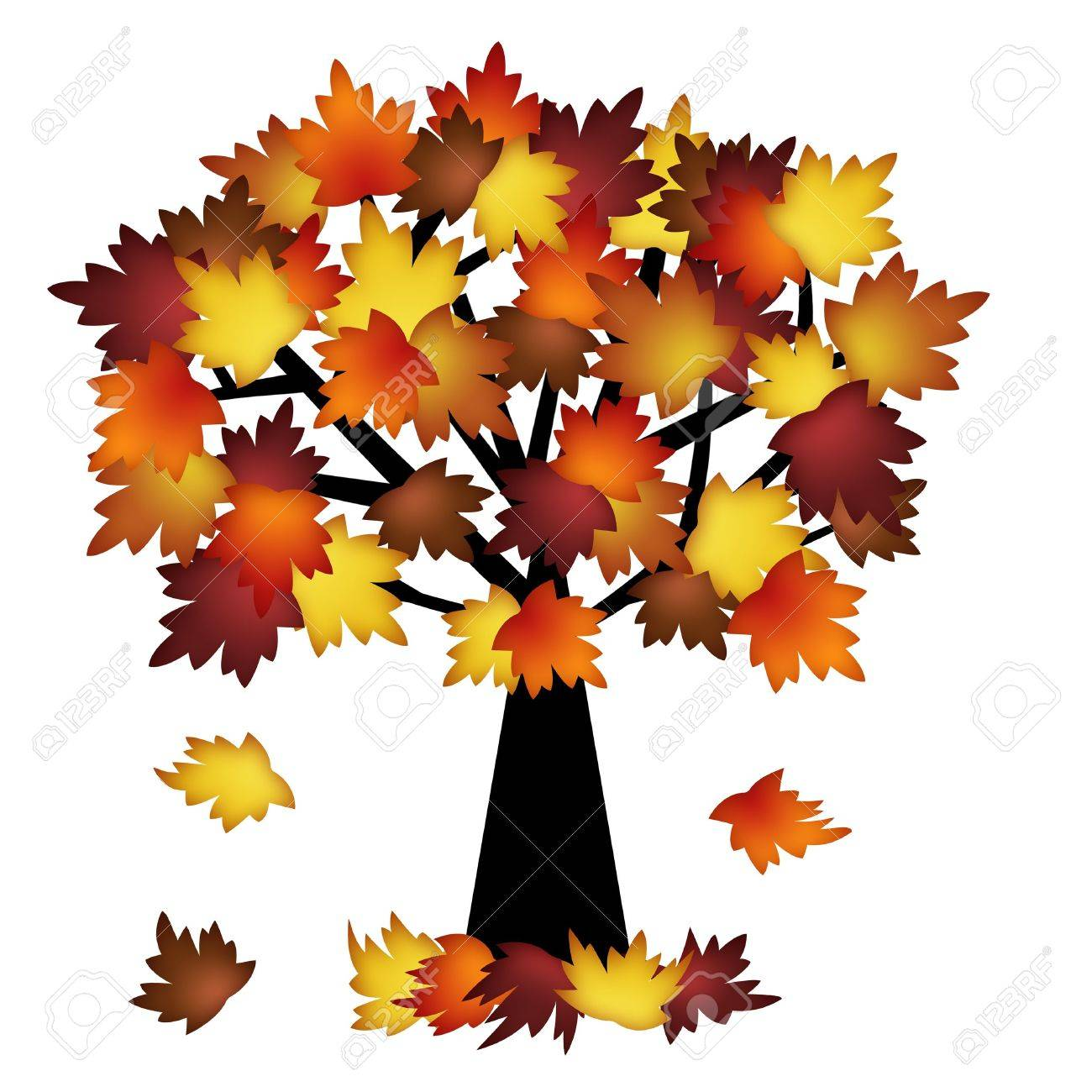 Colorful Fall Leaves On Tree Illustration In Autumn Stock Photo