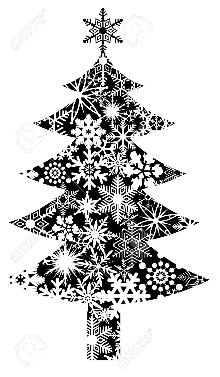Christmas Tree With Snowflakes Pattern Clipart Illustration Stock ...