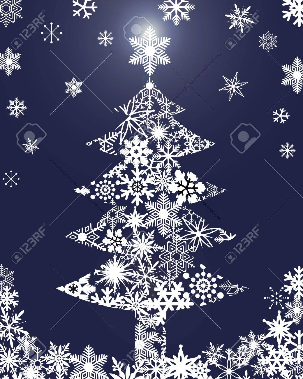 Christmas Tree with Snowflakes Blue Background Clipart Illustration Stock Illustration - 10836814