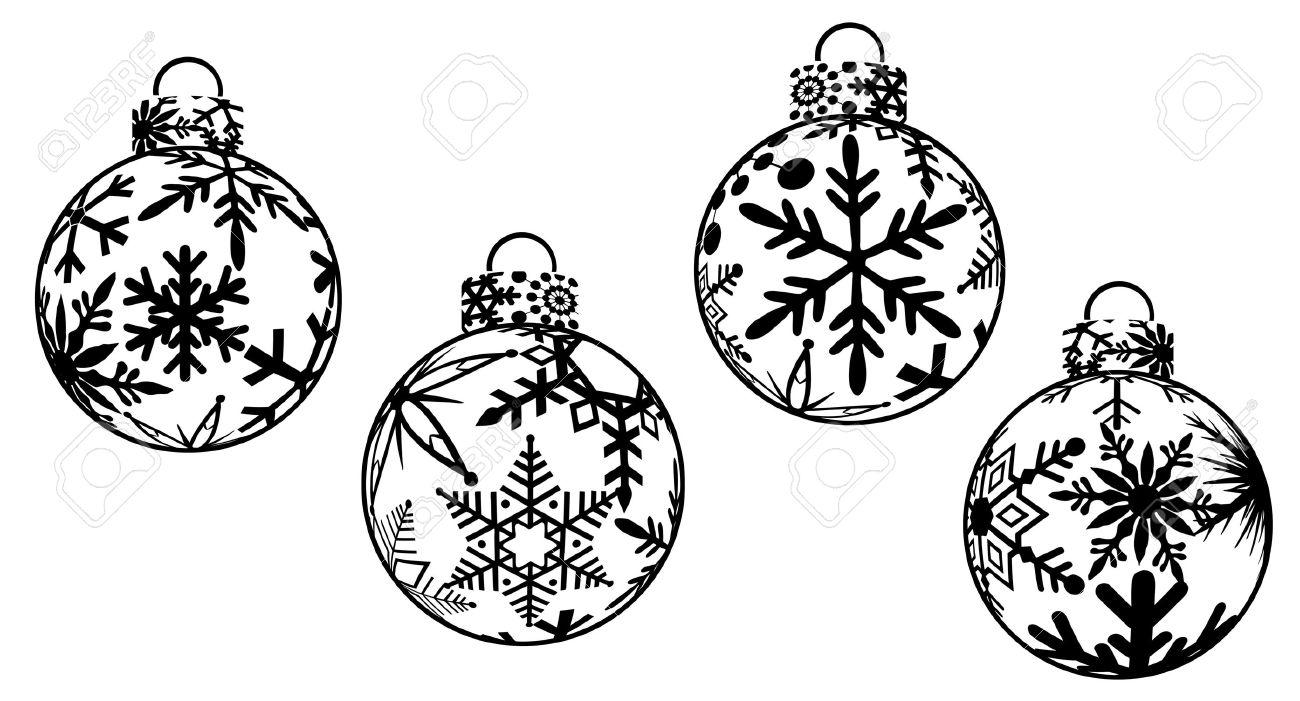 Christmas ornament black and white - Christmas Ornaments Black And White Clipart Stock Photo 10871721
