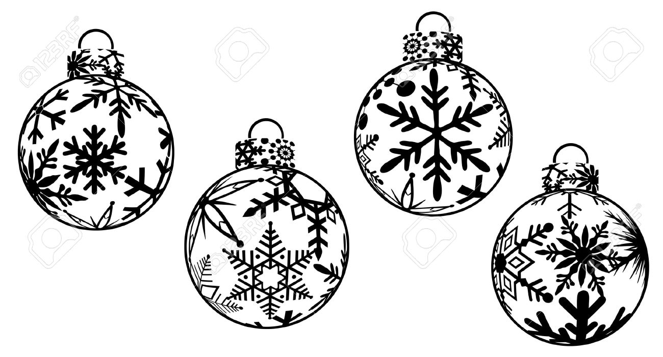 Christmas Ornaments Black And White Clipart