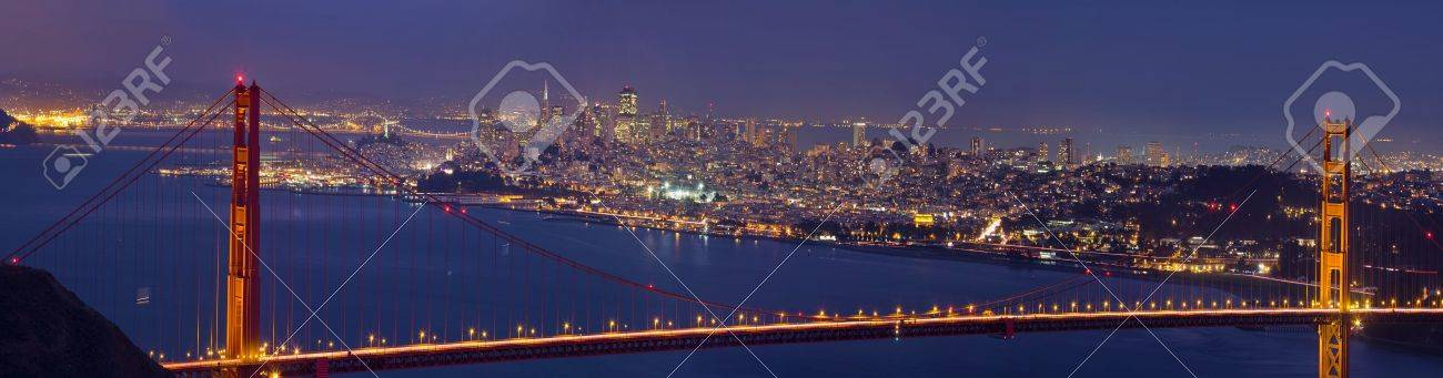 Golden Gate Bridge Over San Francisco Bay and Skyline at Dusk Panorama Stock Photo - 10962166