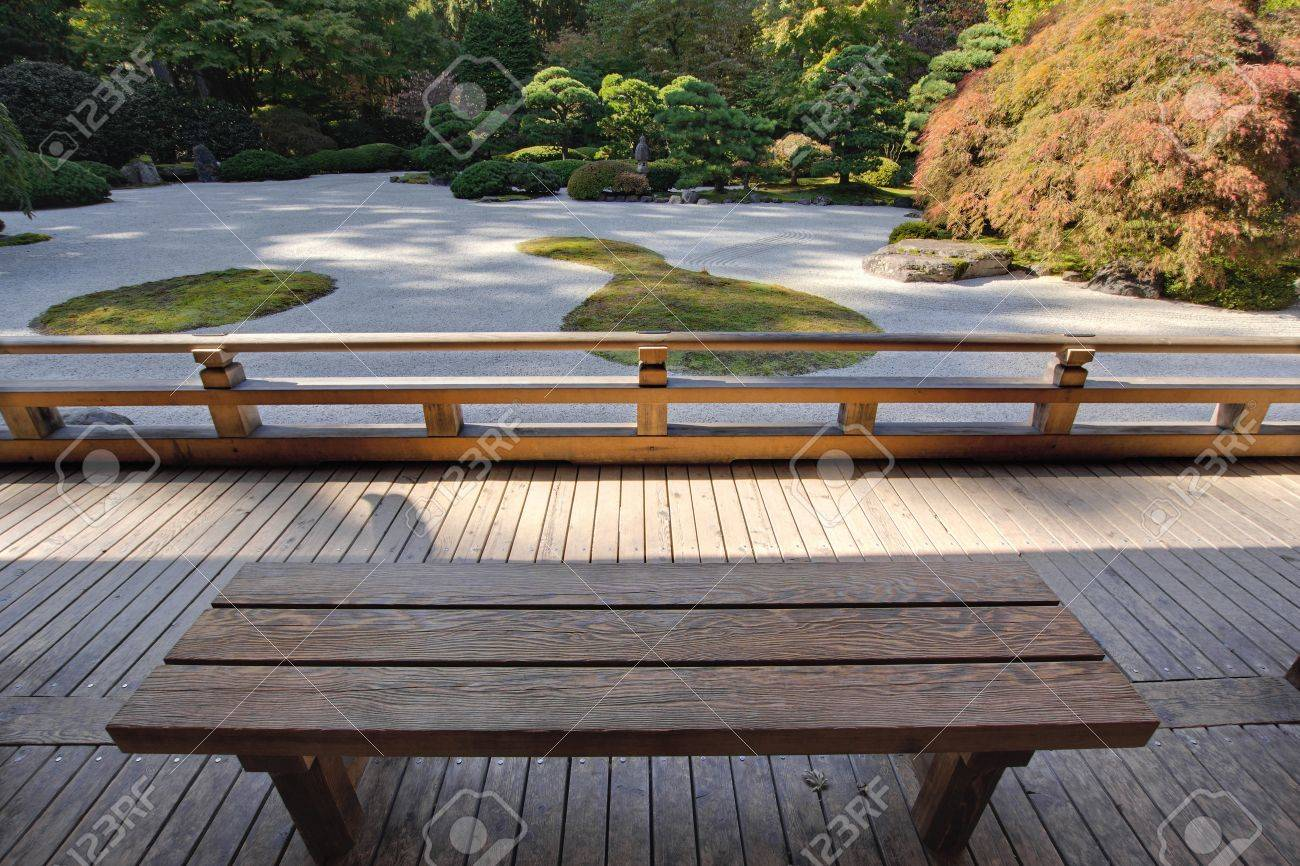 View Of Japanese Sand Garden From Wooden Bench Under Pavilion Stock Photo    11021515