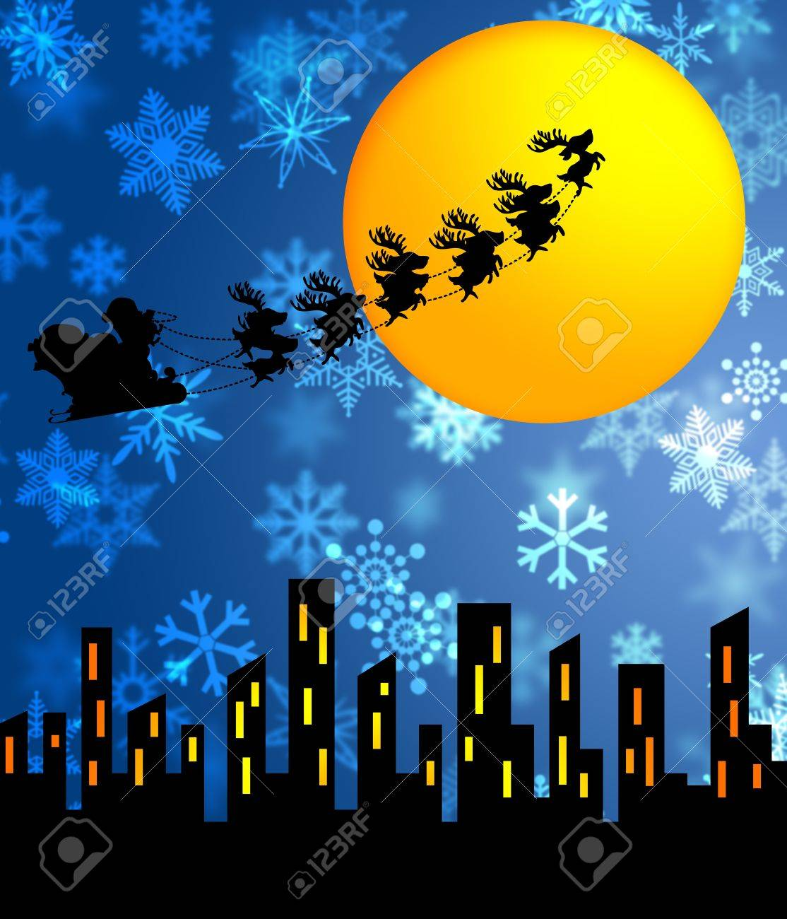 Santa Sleigh and Reindeers Flying over the City with Moon Illustration Stock Photo - 11134086