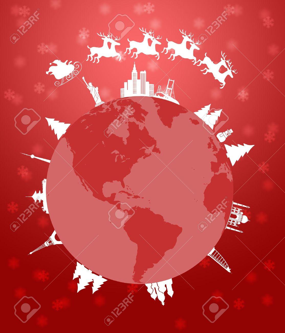 Santa Sleigh and Reindeer Flying Around the World Globe Red Background Illustration Stock Illustration - 11134083