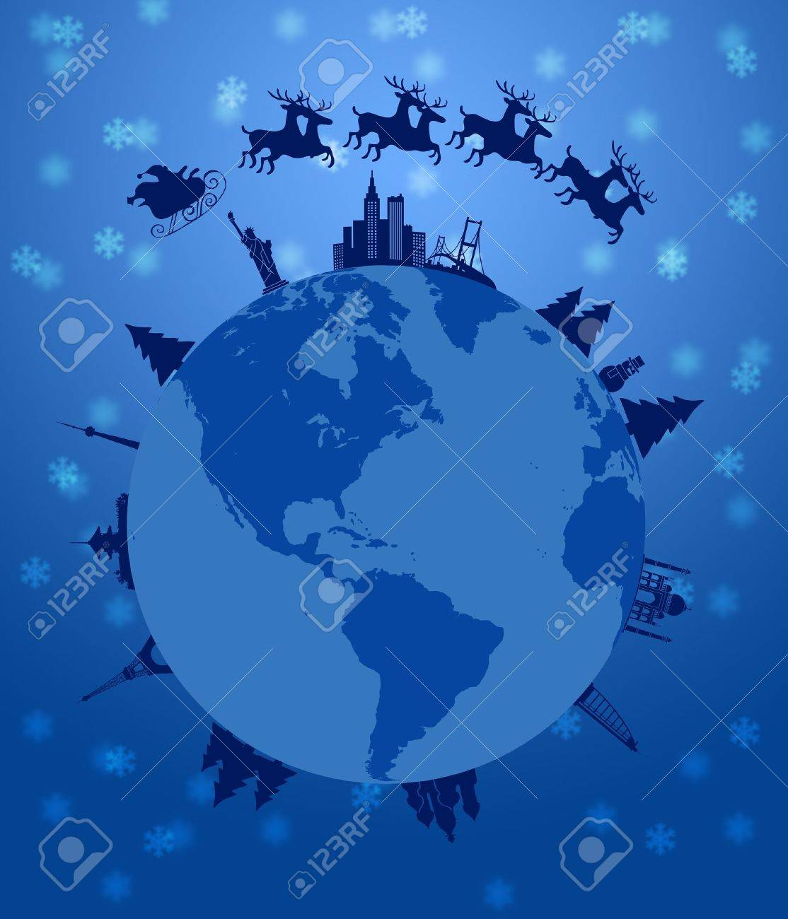 Santa Sleigh and Reindeer Flying Around the World Earth Globe Illustration Stock Illustration - 11134084