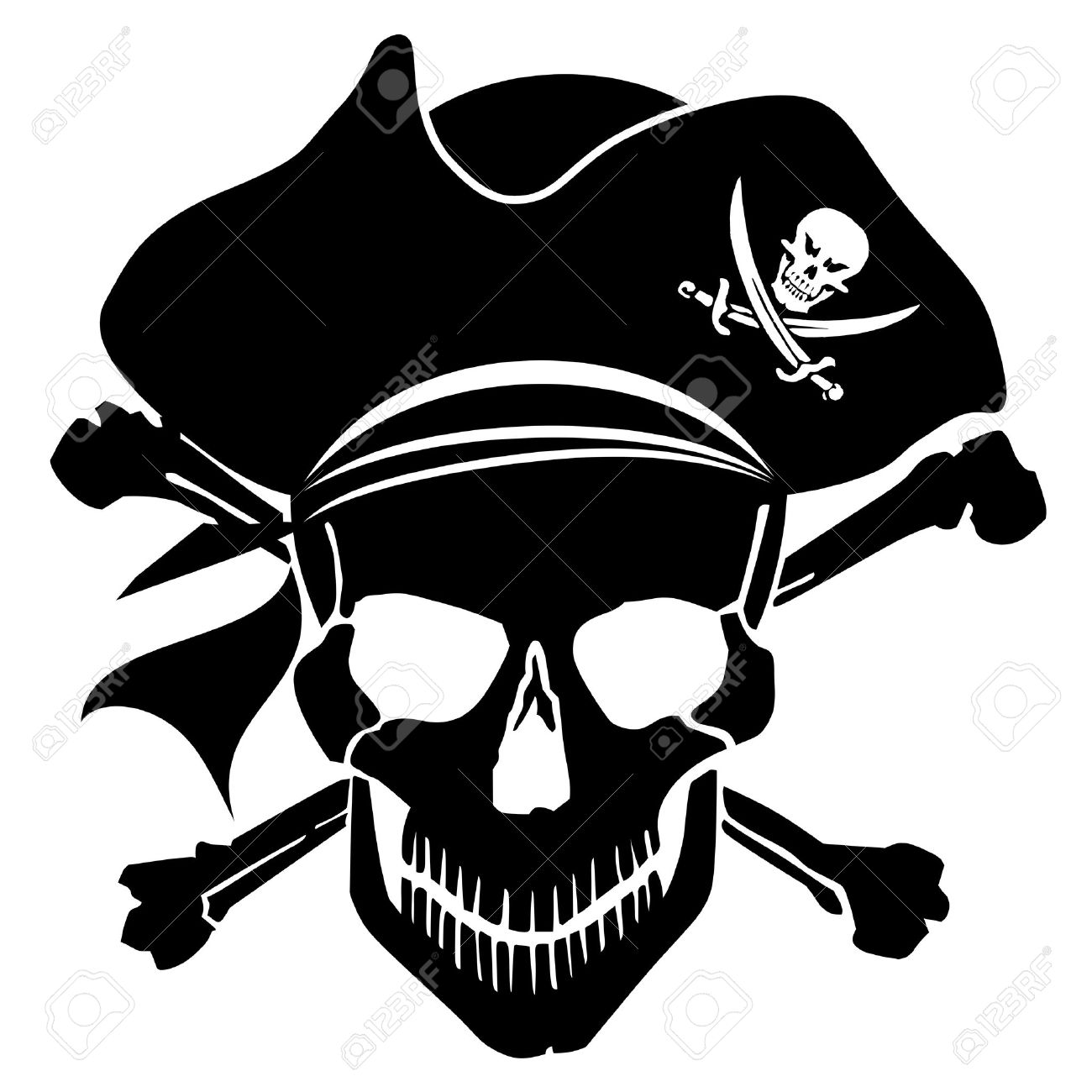 Pirate Skull Captain with Hat and Cross Bones Clipart Illustration - 11134091