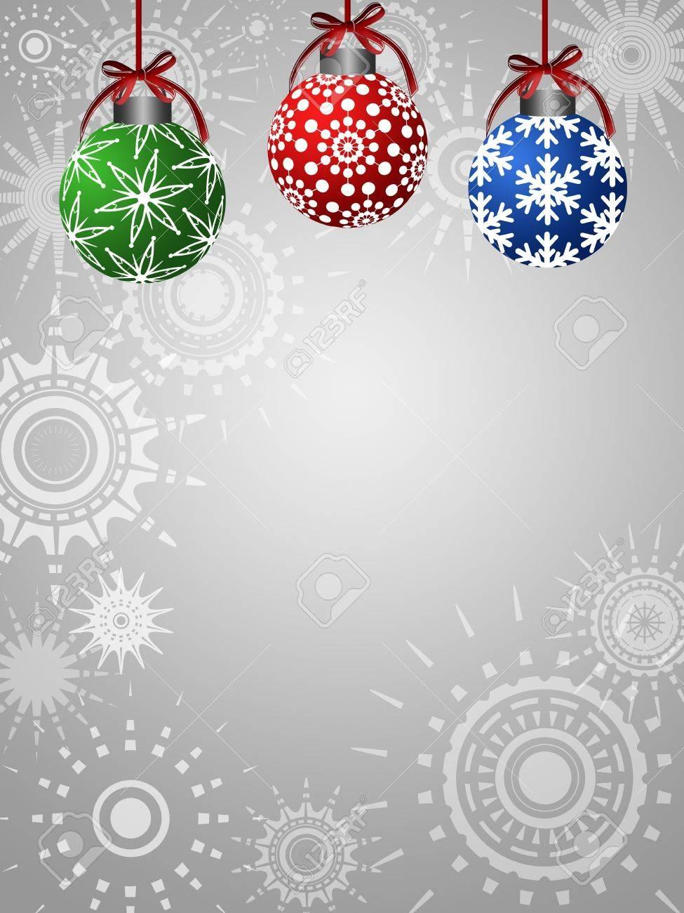 Three Colorful Ornaments on Silver Sun Star Background Illustration Stock Illustration - 11134105