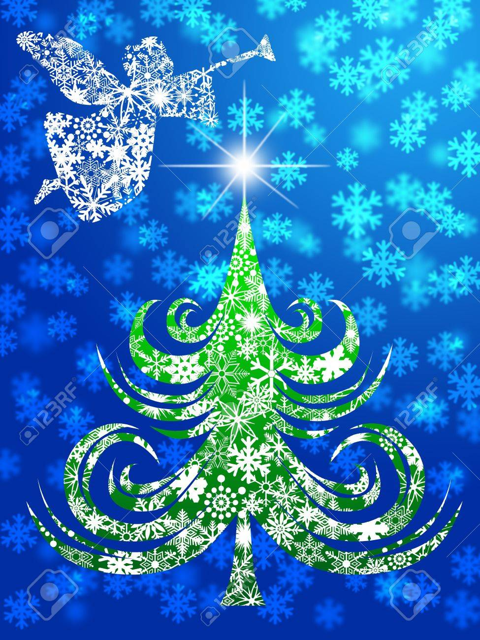 Snowflakes Angel with Trumpet Over Christmas Tree Illustration Stock Photo - 11266662