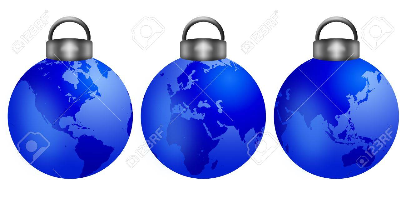 Three Christmas Tree Ornaments With World Map Isolated On White Background  Illustration Stock Illustration  11266668