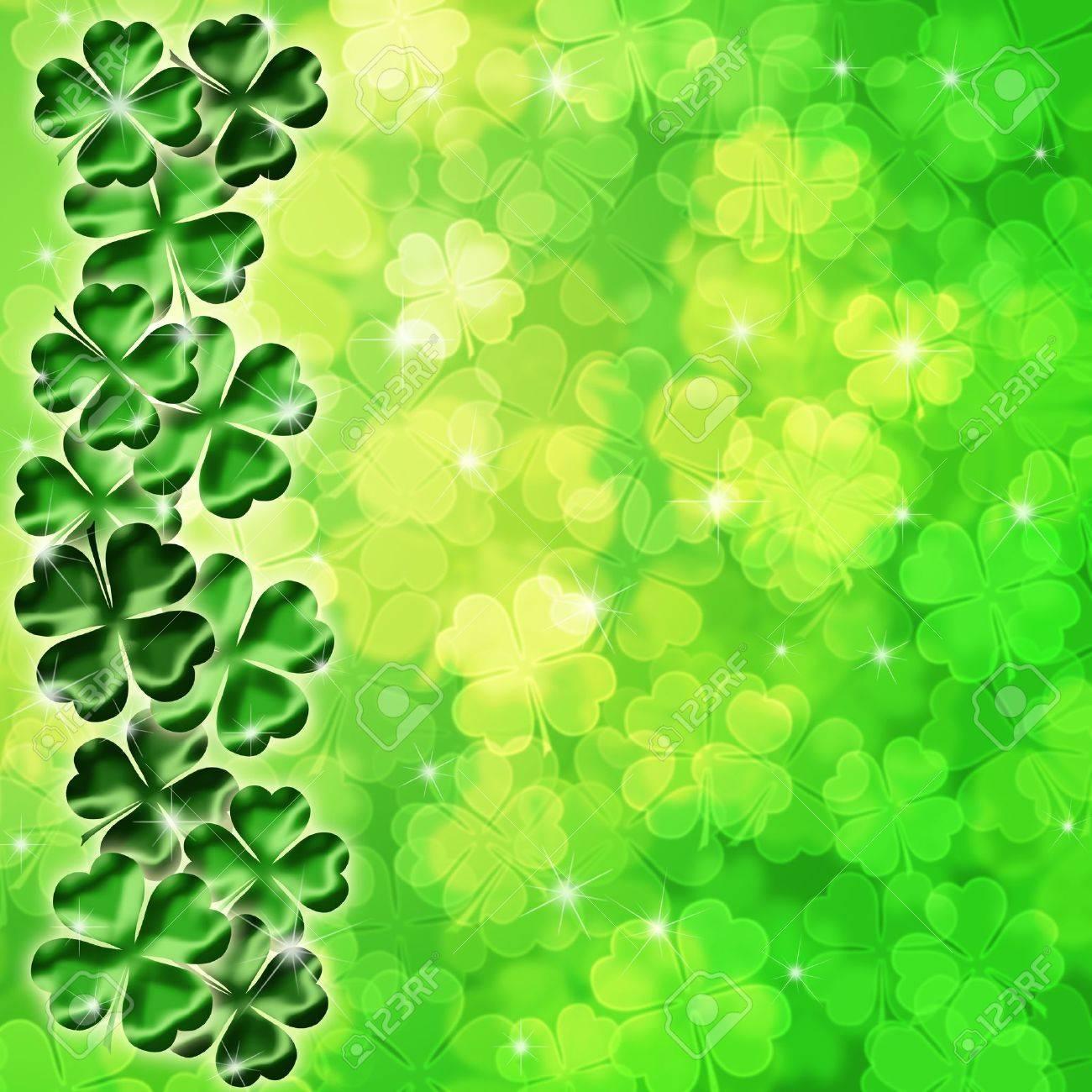 Lucky Irish Four Leaf Clover Shamrock Sparkles on Blurred Background Illustration Stock Illustration - 11266671