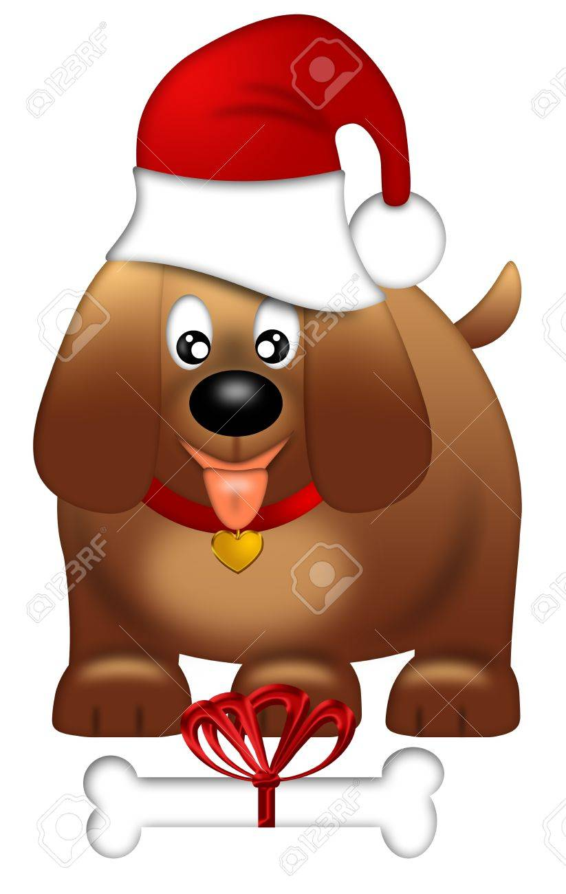 Cute Puppy Dog with Santa Hat and Bone Isolated on White Background Illustration Stock Photo - 11585684