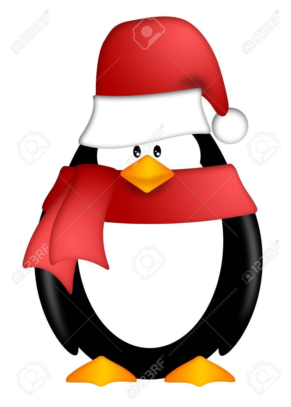 Cute Cartoon Penguin with Santa Hat and Red Scarf Illustration Isolated on White Background Stock Photo - 11582226