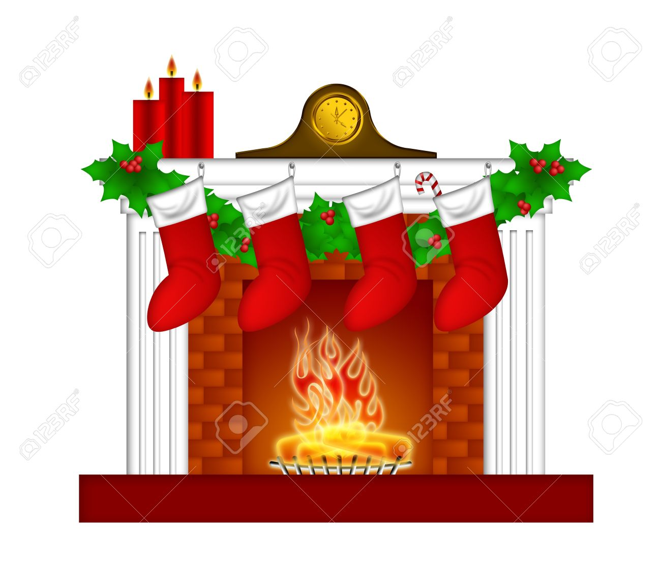 fireplace christmas decoration with garland stocking pillar candles rh 123rf com  christmas tree and fireplace clipart
