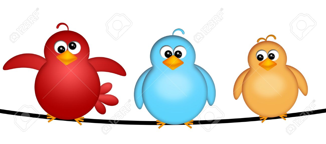 Three Birds On A Wire Cartoon Clipart Illustration Isolated.. Stock ...