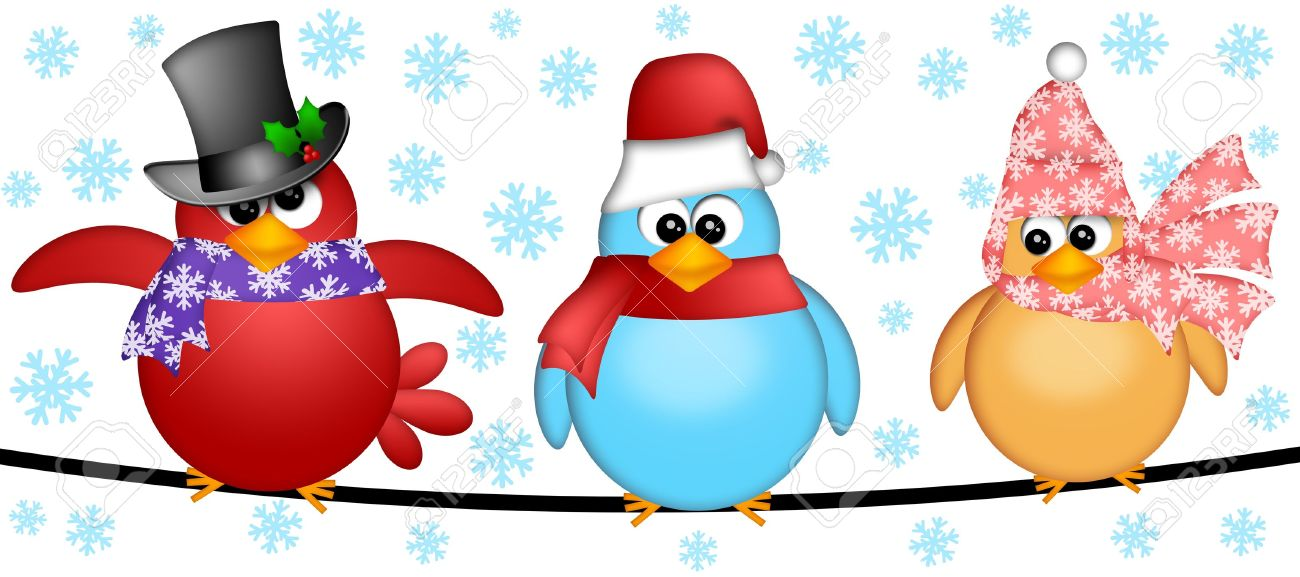 Three Christmas Birds on  a Wire Cartoon Clipart Illustration Isolated on White Background with Snowflakes Stock Photo - 11585705