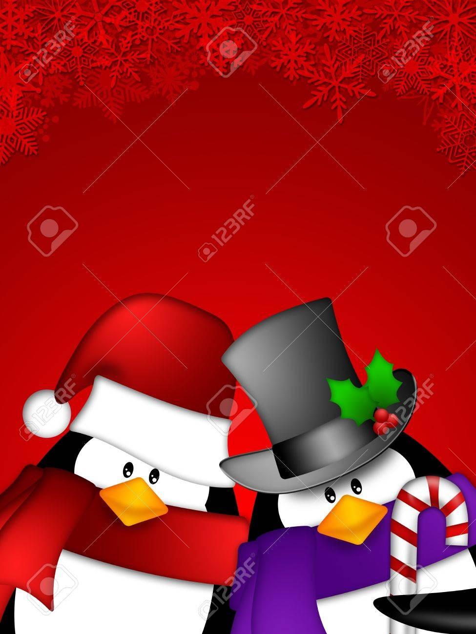 赤の雪片背景イラスト上にかわいい漫画ペンギンのカップル