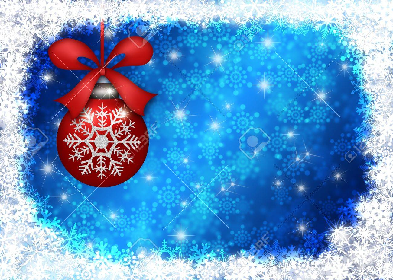 Hanging Red Christmas Tree Ornament with Snowflakes Border and Blue Blurred Background Illustration Stock Illustration - 11585722