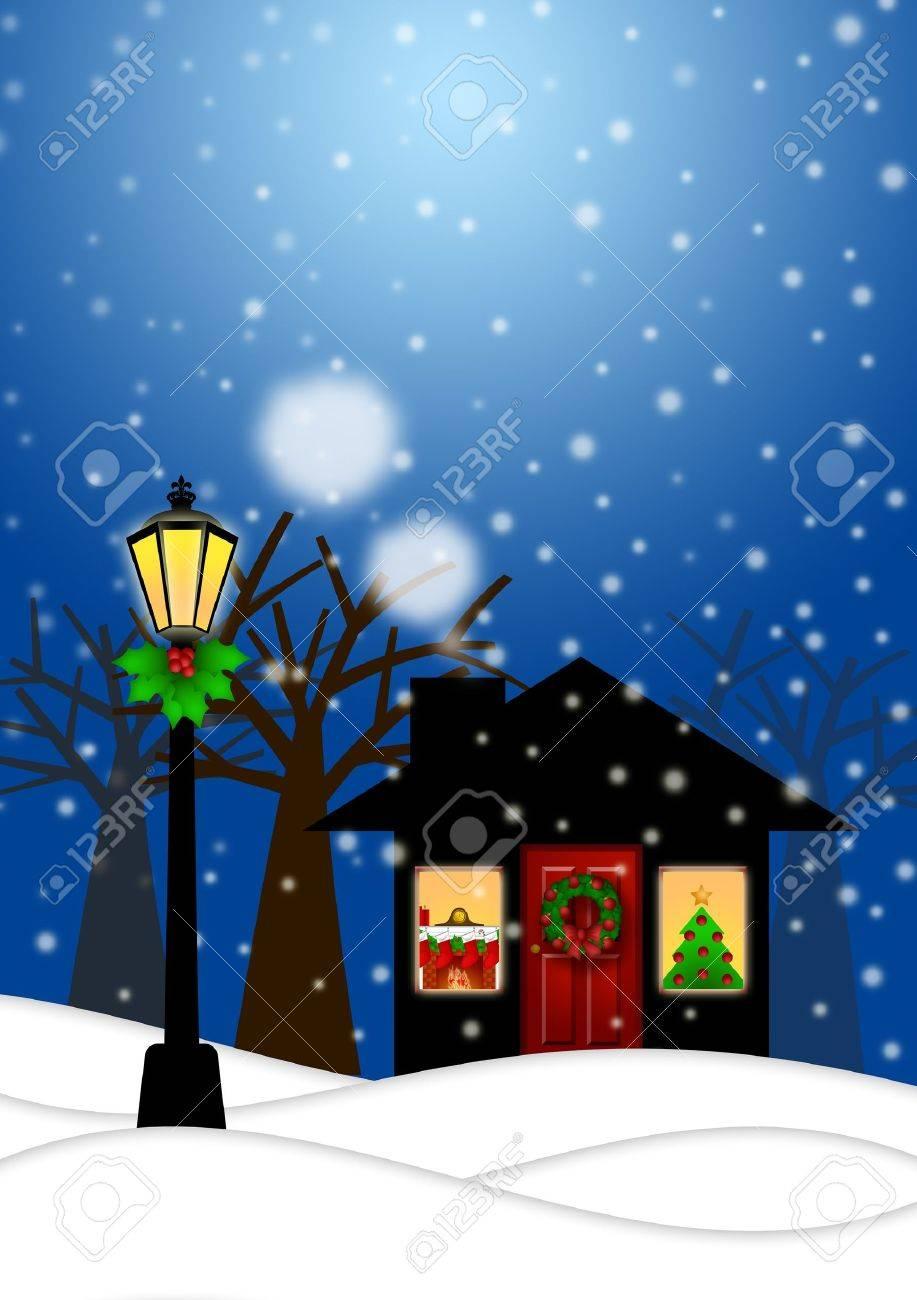 家と雪の冬のシーンの風景イラストでクリスマスの装飾を持つランプ