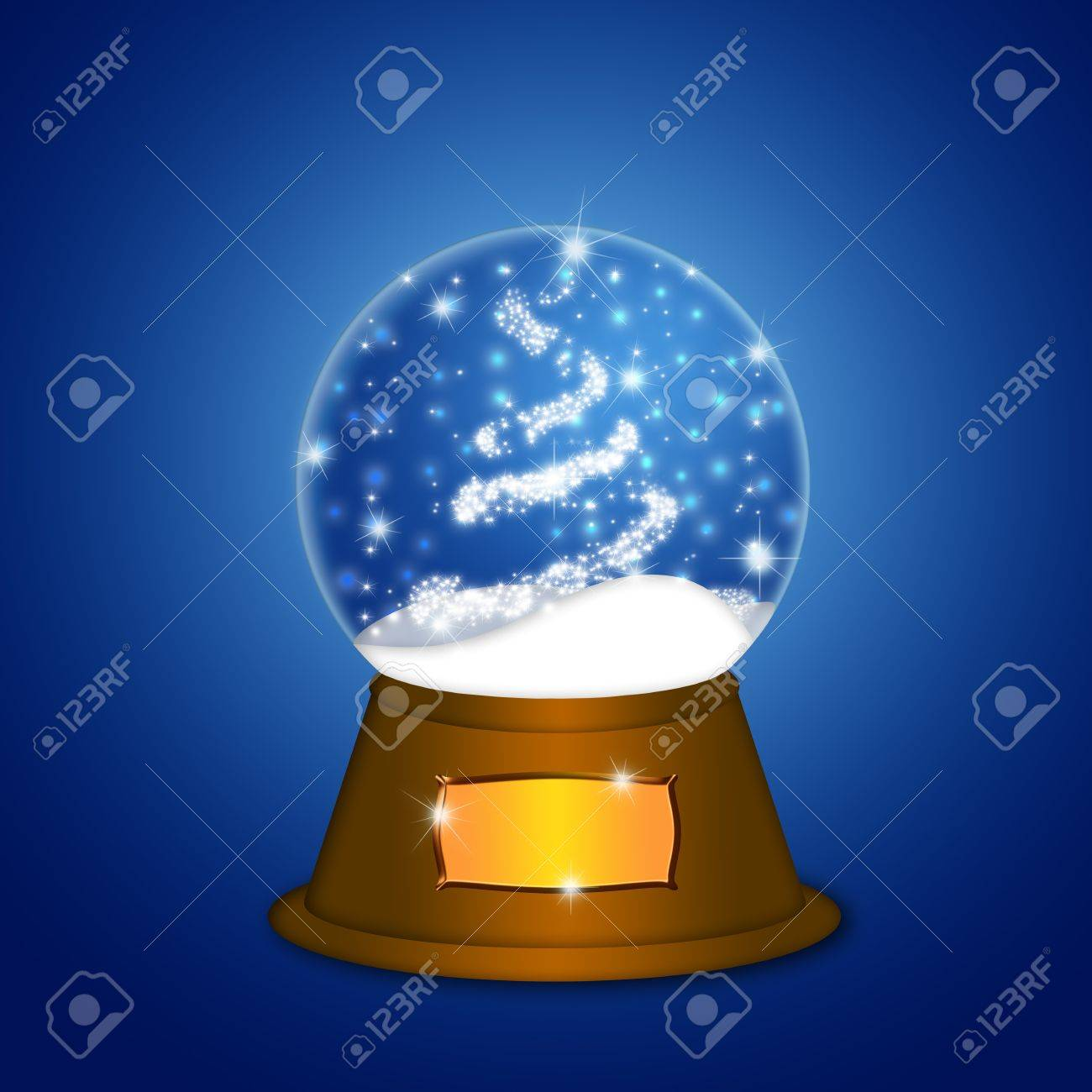 Christmas Water Snow Globe with Christmas Tree Sparkles and Snowflakes Illustration on Blue Background Stock Illustration - 11585733
