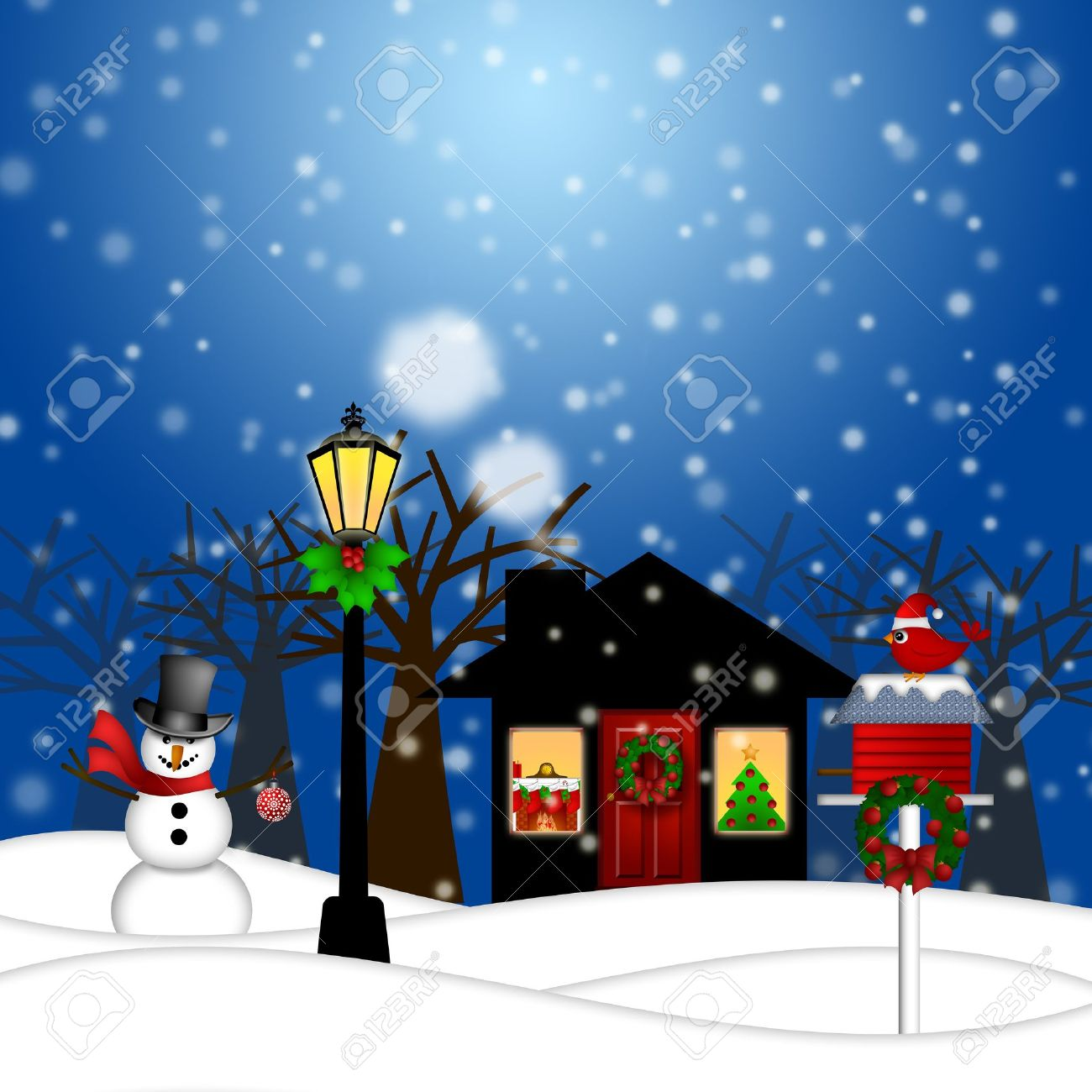 House with Lamp Post Snowman and Birdhouse Christmas Decoration in Snowing Winter Scene Landscape Illustration Stock Illustration - 11585742