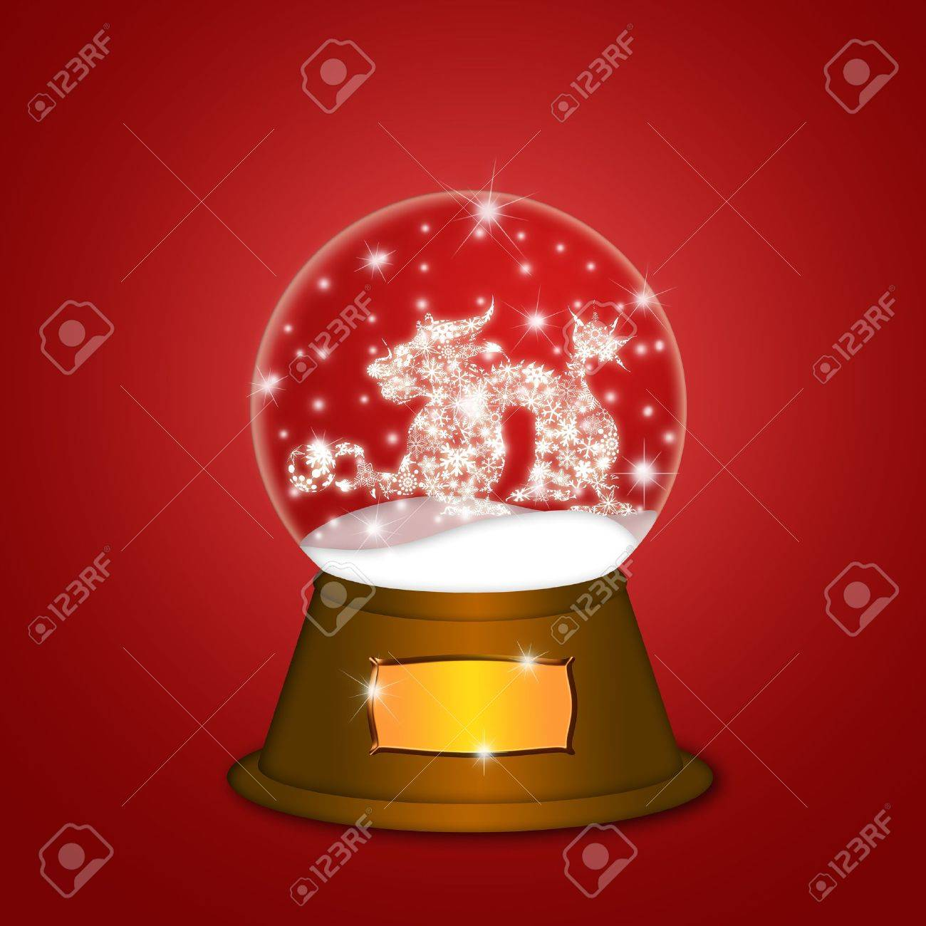 Water Snow Globe with Chinese Dragon and Ball Illustration on Red Background Stock Illustration - 11585757