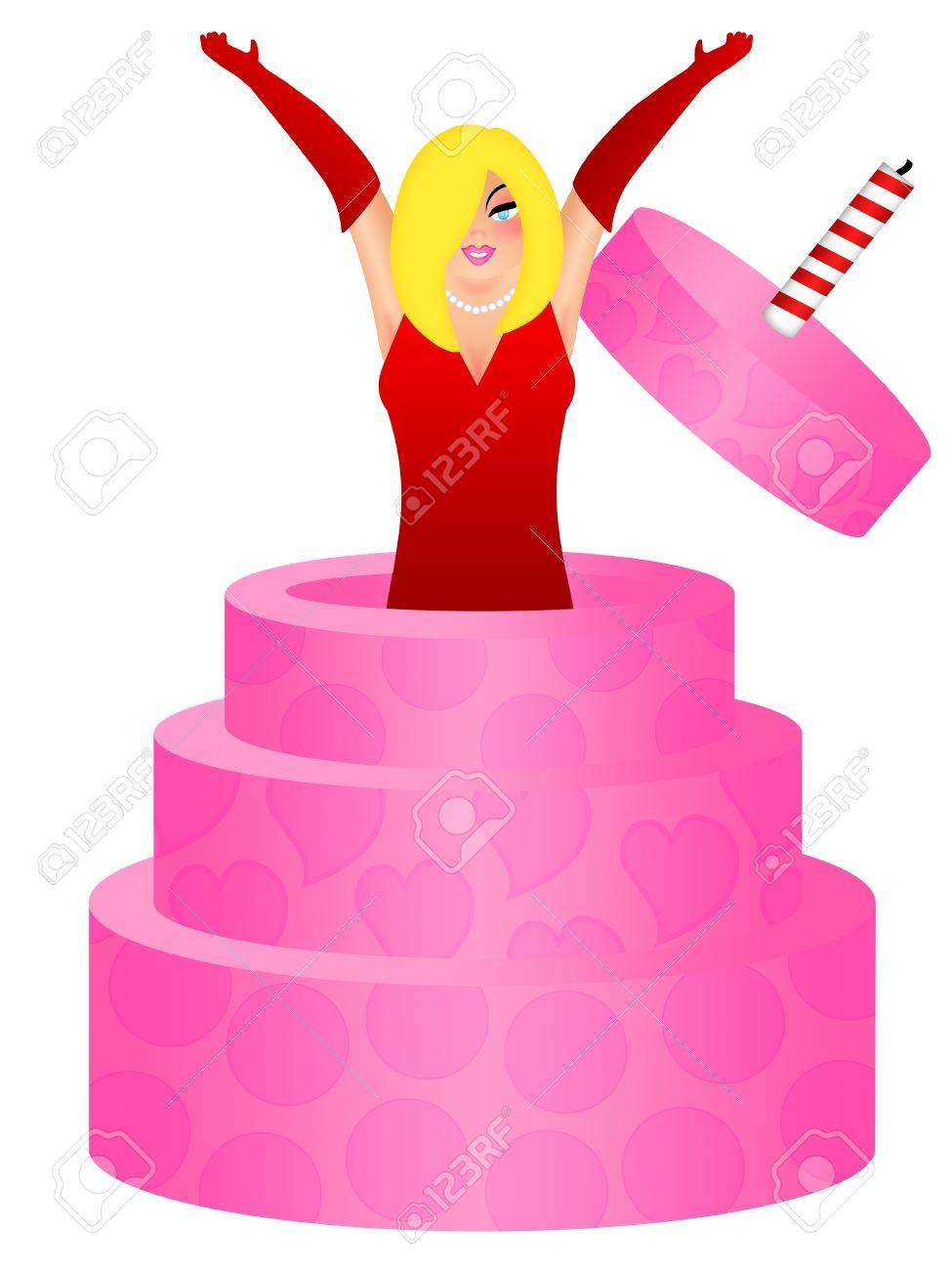 sexy blonde hair woman with red dress jumping out of birthday rh 123rf com