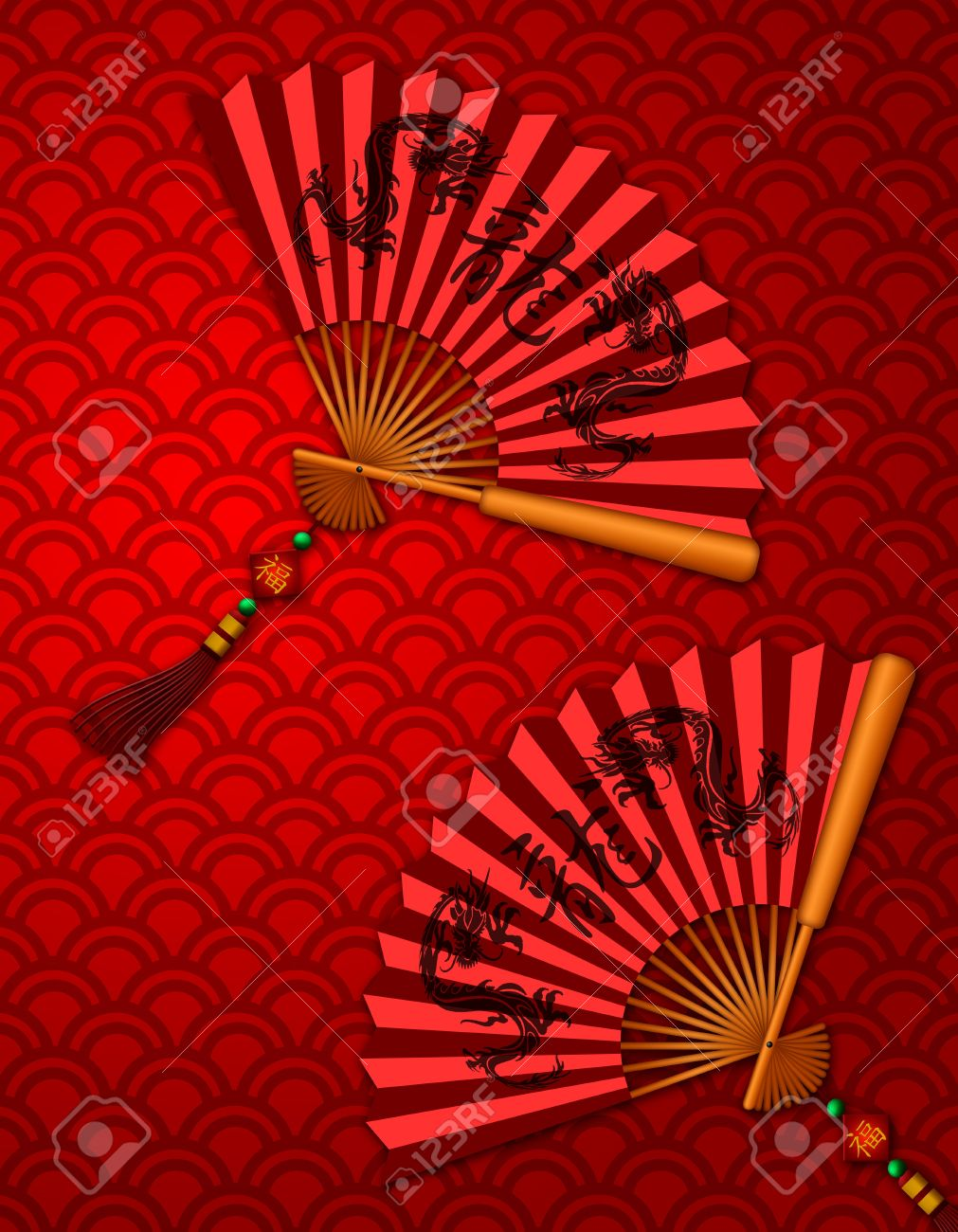 Chinese Fans with Dragon Text Calligraphy and Prosperity Word on Tag on Red Scales Background Illustration Stock Illustration - 11781483
