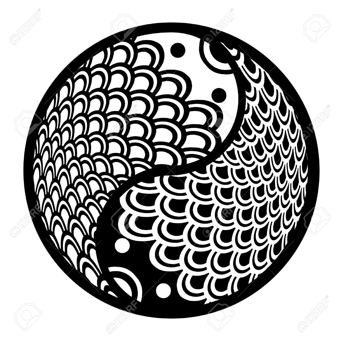 chinese pair of fish in yin yang eternity circle illustration