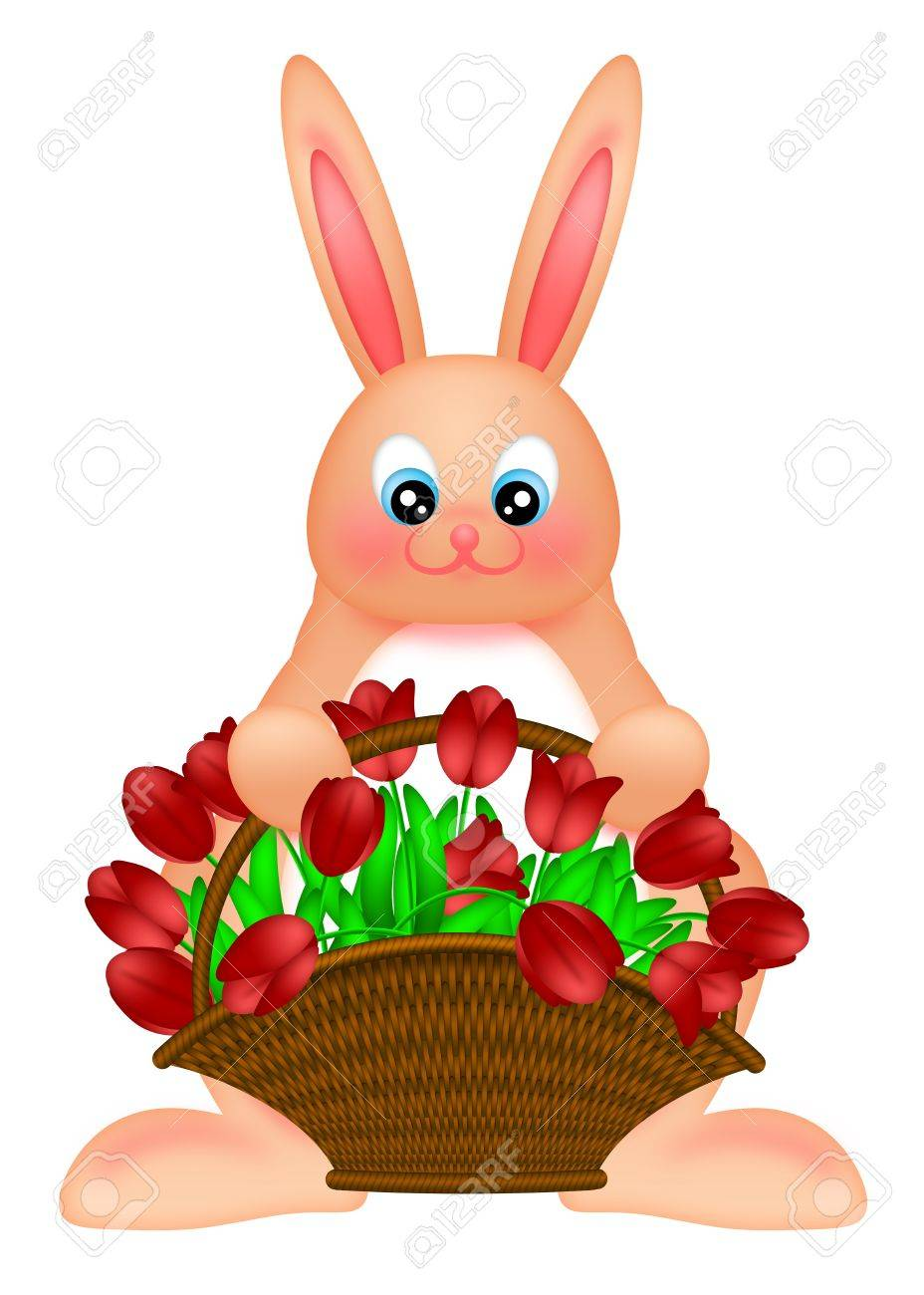 happy easter bunny rabbit holding a basket of red tulips flowers