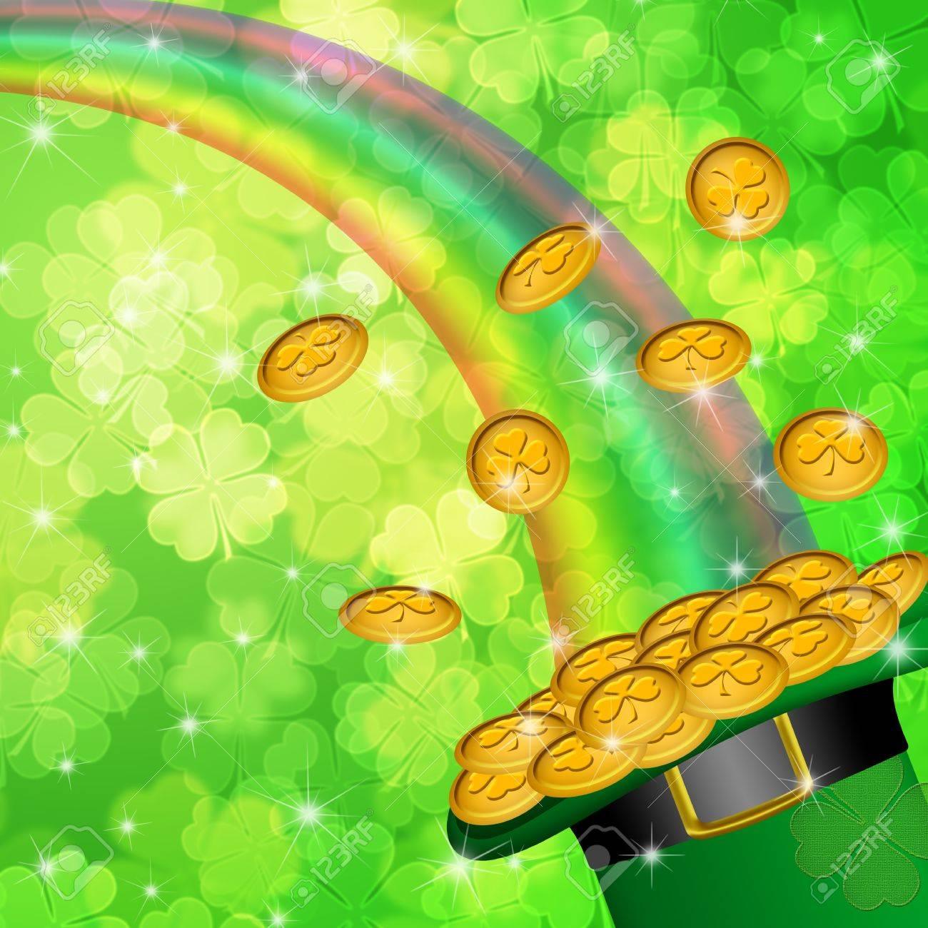 Pot of Gold and Rainbow Over Lucky Irish Shamrock Four-Leaf Clover Blurred Background Illustration Stock Illustration - 12683458