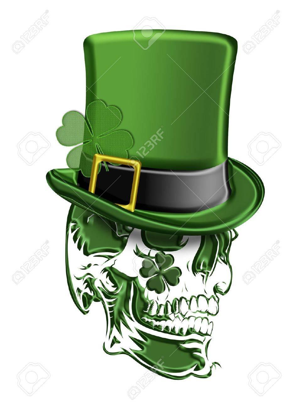 Día de San Patricio Verde cráneo con sombrero de duende con los tréboles  aislados en fondo 7be3c8a366a