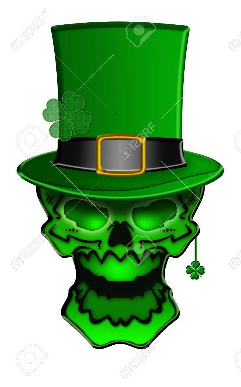 st patricks day green skull with leprechaun hat with shamrock