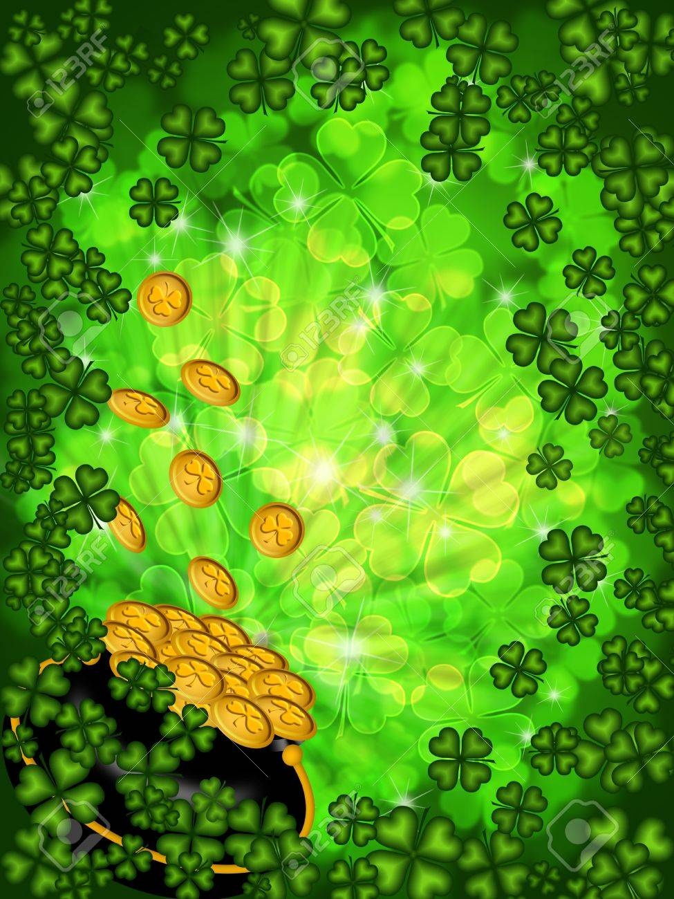 st patricks day pot of gold on four leaf clover shamrock with