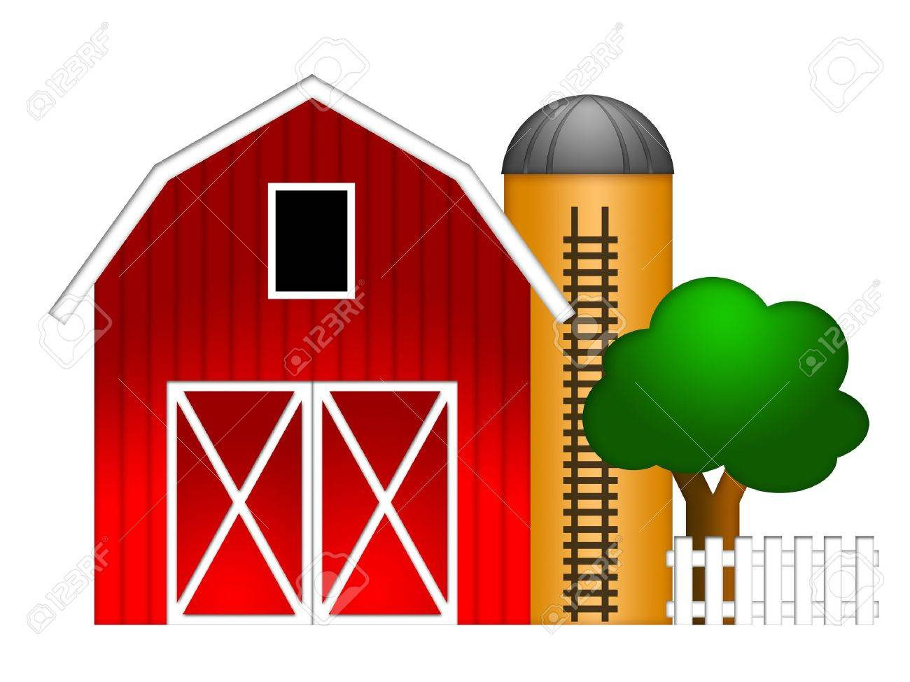 Cartoon red barn doors - Barn Door Red Barn With Grain Elevator Silo And Tree Illustration Isolated On White Background