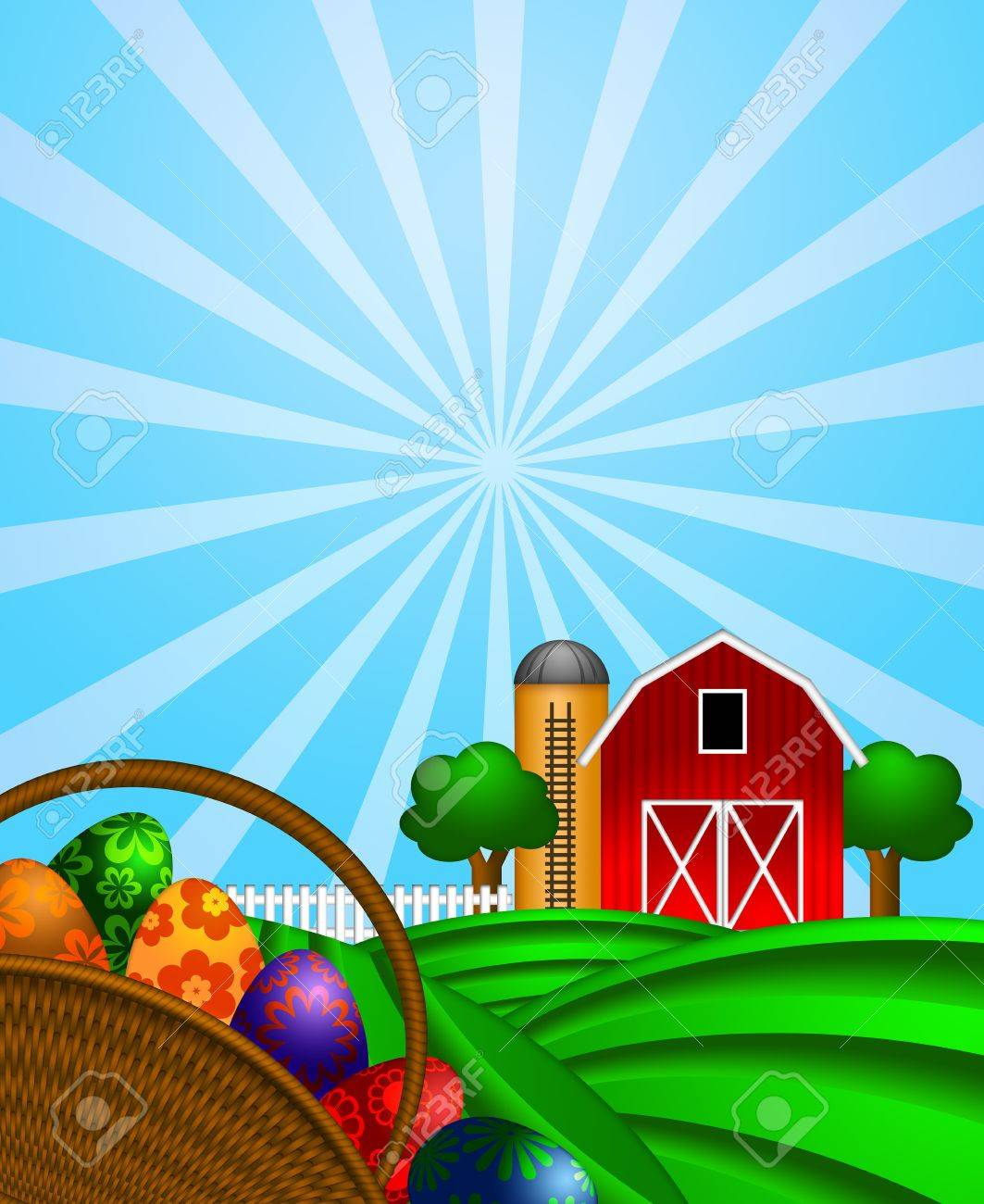 Cow on green pasture with red barn with grain silo royalty free stock - Red Barns On Hill Happy Easter Day Eggs Basket With Red Barn Grain Elevator Silo