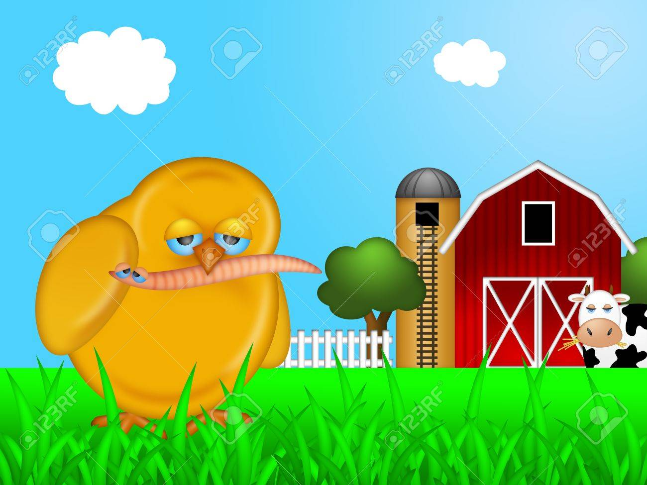 Cow on green pasture with red barn with grain silo royalty free stock - Chick Eating Worm On Farm With Red Barn And Silo With Cow Illustration Stock Illustration