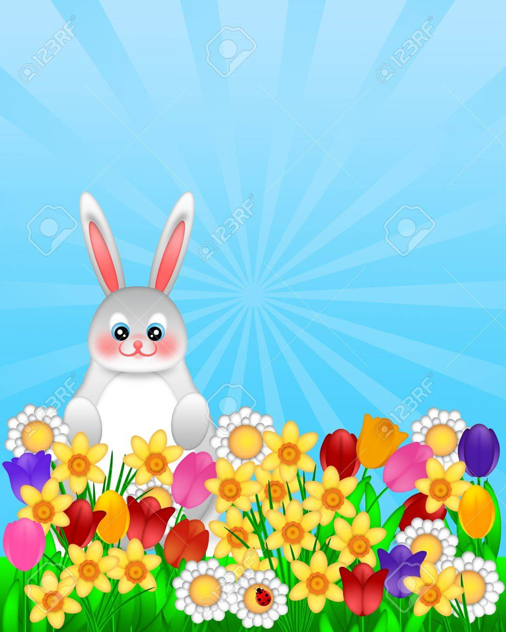Easter Bunny Amongst Spring Flowers with Ladybug Illustration Isolated on White Background Stock Photo - 12883594