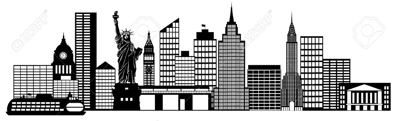 Illustration new york city skyline panorama black and white silhouette clip art illustration