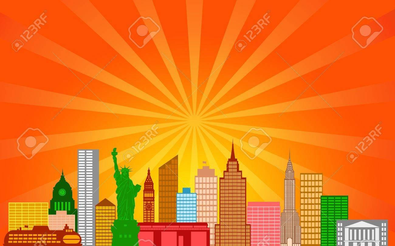 New York City Skyline Panorama Color Silhouette with Sun Rays Clip Art Illustration Stock Illustration - 12974807
