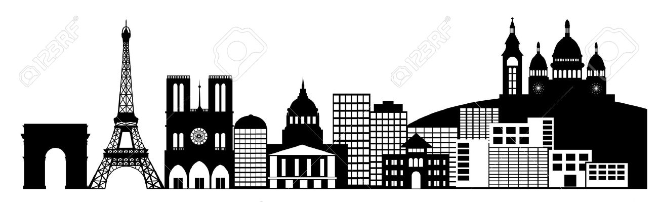 paris france city skyline panorama black and white silhouette rh 123rf com french bread clipart black and white Marriage Clip Art Black and White