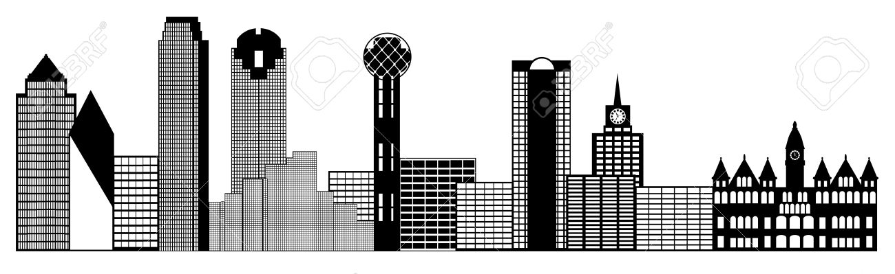 dallas texas city skyline panorama black and white silhouette