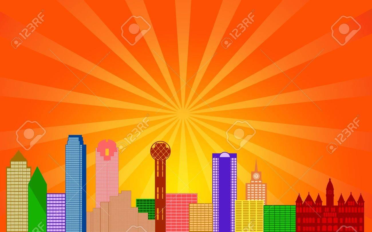 Dallas Texas City Skyline Panorama Color Silhouette with Sun Rays Clip Art Illustration Stock Illustration - 13053490