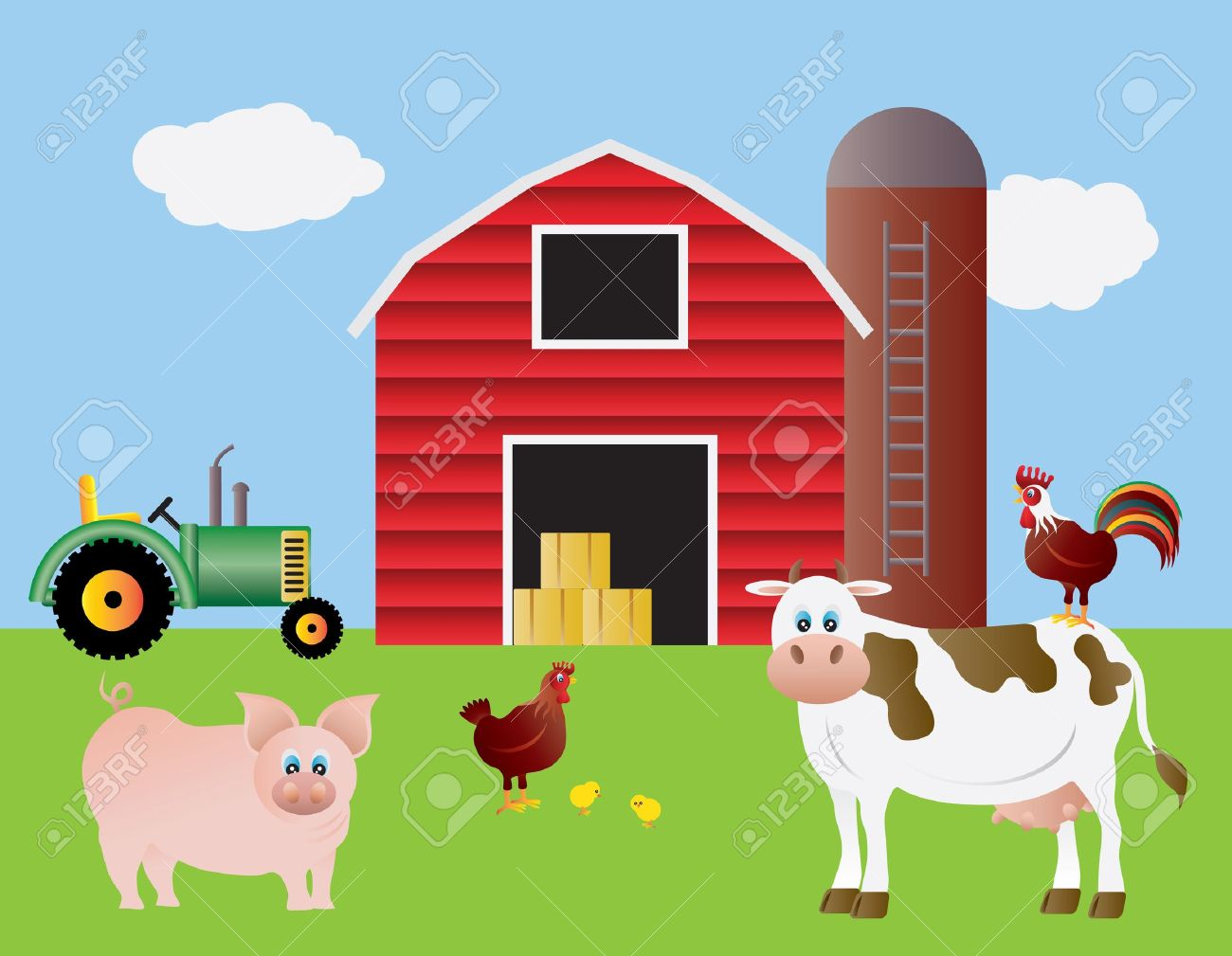 Cow on green pasture with red barn with grain silo royalty free stock - Farm With Red Barn Tractor Pig Cow Chicken Farm Animals Illustration Stock Vector 13173934