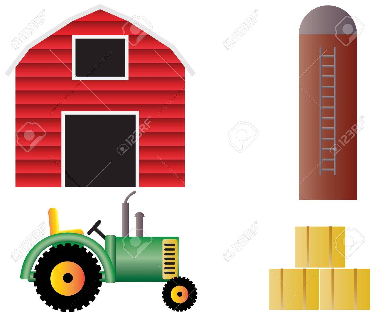 silo farm with red barn tractor grain silo and hay bales illustration isolated on white