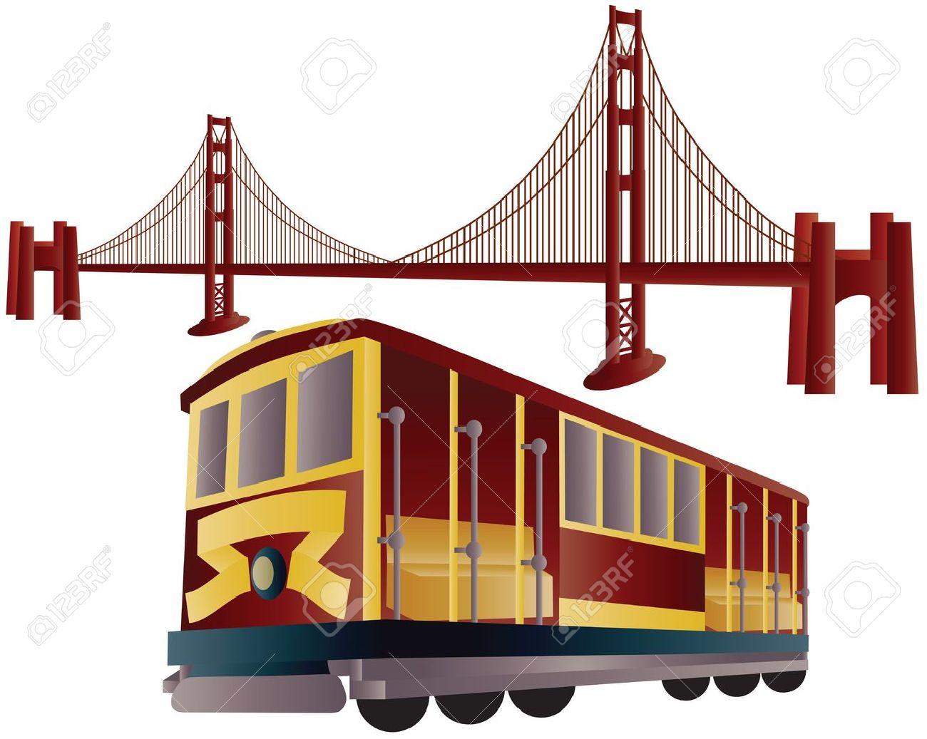 San Francisco Cable Car Trolley and Golden Gate Bridge Illustration - 13370032